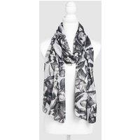 Womens Next Monochrome Floral Print Scarf - Black
