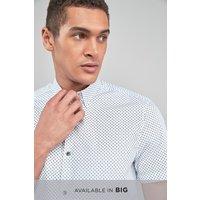 Mens Next White Mini Paisley Short Sleeve Shirt - White