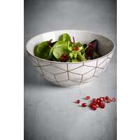 Next Rose Gold Marble Effect Serve Bowl - White