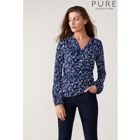 Womens Pure Collection Blue Jersey Gathered Cuff Wrap Top - Blue