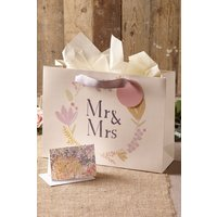 Next Mr & Mrs Bag, Card And Tissue Set - Cream
