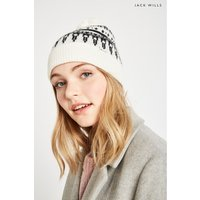 Womens Jack Wills White Bromley Fairisle Pom Pom Hat - White