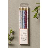 Next Set of 6 Patterned Pencils - Blue