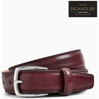 Mens Next Burgundy Signature Italian Leather Belt - Red