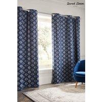 Secret Linen Store Pinecones Eyelet Curtains - Blue