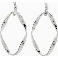 Womens Next Silver Tone Abstract Metal Drop Hoop Earrings - Silver