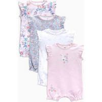 Girls Next Pink/White Floral Short Leg Rompers Four Pack (0mths-2yrs) - Pink