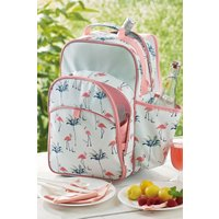 Next 4 Person Flamingo Print Filled Picnic Backpack - Pink