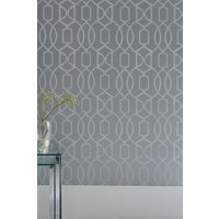 Next Paste The Wall Lattice Surface Print Wallpaper - Silver