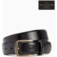 Mens Next Black Signature Collaboration Italian Leather Formal Belt - Black