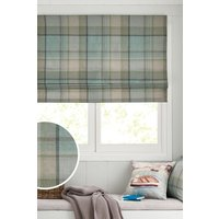 Next Marlow Woven Check Roman Blind - Teal
