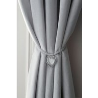 Next Set of 2 Heart Tie Backs - Silver