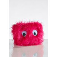 Womens Next Pink Fluffy Eye Make Up Bag - Pink