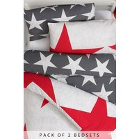 Next 2 Pack Stars Duvet Cover and Pillowcase Set - Red