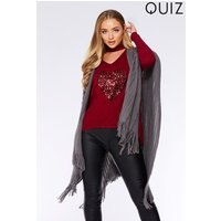 Quiz Womens Tassel Hem Cape Grey One Size