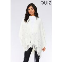 Quiz Womens Tassel Hem Cape White One Size