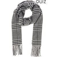 Womens Quiz Check Scarf - Black