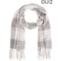 Womens Quiz Check Scarf - Grey