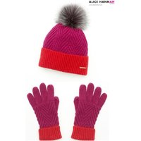 Womens Alice Hannah Colour Block Hat Gloves Set - Red