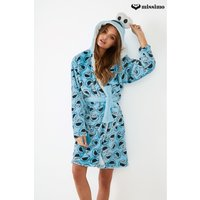 Womens Missimo Nightwear Cookie Monster All Over Printed Fleece Hooded Robe - Blue
