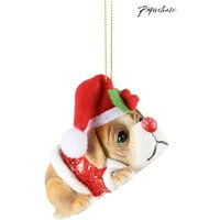 Paperchase Puppy In Santa Hat Christmas Decoration - Brown