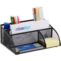 relaxdays Schreibtisch-Organizer mit 5 Fächern schwarz