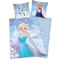 Herding Kinderbettwäsche Disney's Die Eiskönigin, Frozen Flanell, 80 x 80 cm + 135 x 200 cm blau
