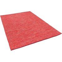 Pergamon Baumwolle Natur Kelim Teppich Easy Meliert rot Gr. 60 x 90