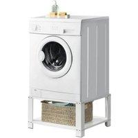 en.casa Waschmaschinen-Sockel mit Ablage Waschmaschinen-Untergestell inkl. Ablage Stahl Weiß weiß