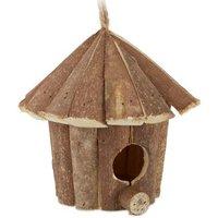 relaxdays Mini Vogelhaus aus Holz natur