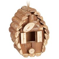 relaxdays Mini Vogelhaus Holz natur