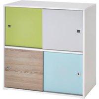 Schardt Kommode Clic, Holznachbildung Pinie/grün/grau/türkis, 4-türig blau
