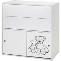 Schardt Kommode Clic, Push-to-Open, weiß/Teddy, 2-türig und 2 Schübe