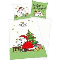 Herding Wende- Kinderbettwäsche Pummeleinhorn Weihnachten weiß Gr. 135 x 200
