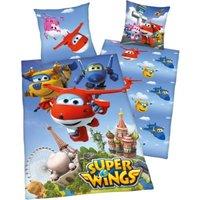Herding Wende- Kinderbettwäsche Super Wings, Renforcé, 135 x 200 cm blau