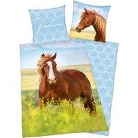 Herding Wende- Kinderbettwäsche Pferd, Renforcé, 135 x 200 cm blau