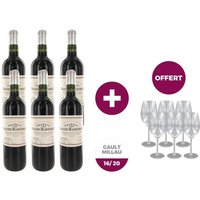 6 bouteilles de vins CHÂTEAU LES GRANDS MARECHAUX 2007 Côtes de Blaye Rouge + 6 verres offerts