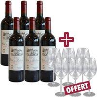 Château Côte de Baleau 2011 - Vin Rouge avec 6 Verres Salin