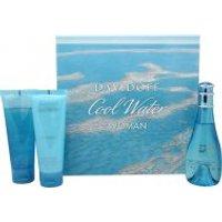 Davidoff Cool Water Woman Gift Set 100ml EDT + 75ml Body Lotion + 75ml Shower Breeze