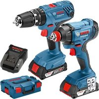 Bosch 18V Twin Pack - GSB 18V-21 Combi Drill + GDX 18V-180 Impact Driver/Wrench with 2x 2Ah batteries