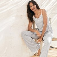 Jersey Lace Trim Pyjama Set