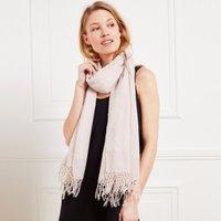 Wool-Silk Oversized Tassel Scarf