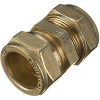 Wickes Brass Compression Straight Coupling - 15mm Pack of 2