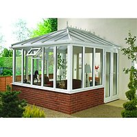 Wickes Edwardian E9 Glass Roof Dwarf Wall White Conservatory - 13 x 15 ft