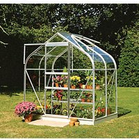 Halls Supreme Silver Clip-in Glass Aluminium Frame Curved Greenhouse - 6 x 4 ft
