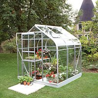 Halls Supreme Silver Toughened Glass Aluminium Frame Curved Greenhouse - 6 x 6 ft