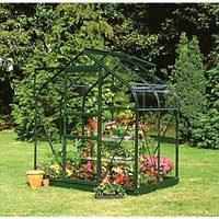 Halls Supreme Green Toughened Glass Aluminium Frame Curved Greenhouse - 6 x 4 ft
