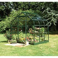 Halls Supreme Green Toughened Glass Aluminium Frame Curved Greenhouse - 6 x 6 ft