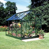 Halls Popular Green Aluminium Frame Apex Greenhouse - 6 x 8 ft