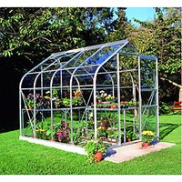 Halls Supreme Silver Clip-in Glass Aluminium Frame Curved Greenhouse - 6 x 8 ft